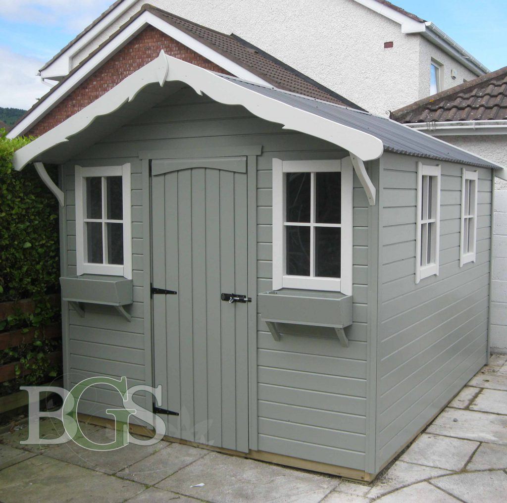 Cabin Painted in Pigeon and Strong White