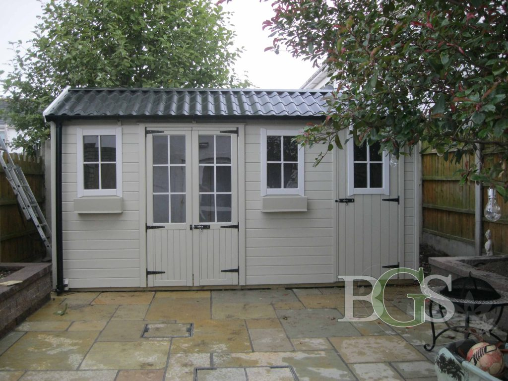 Special Combination Cottage with Pavilion Doors & Tile Effect Roof - Painted