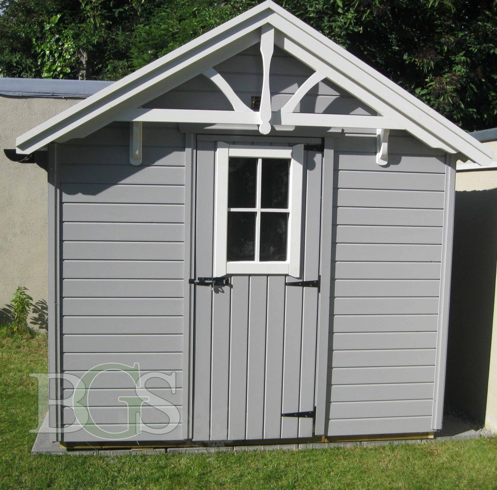 Lodge Style Shed with Cabin Window - Painted in Techile and Strong White